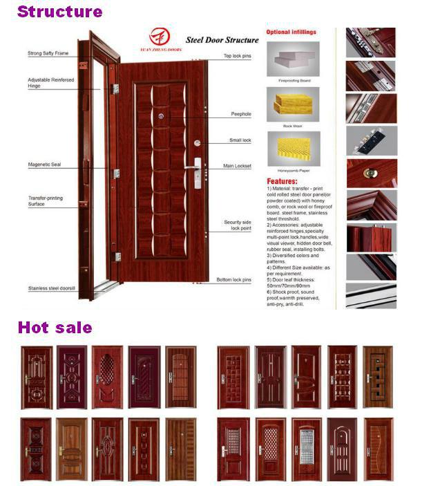 Wooden Color Design Steel Double Door
