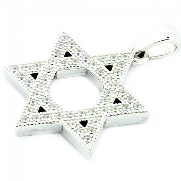 Sterling Silver Star David with CZ 19mm Pendants Jewelry