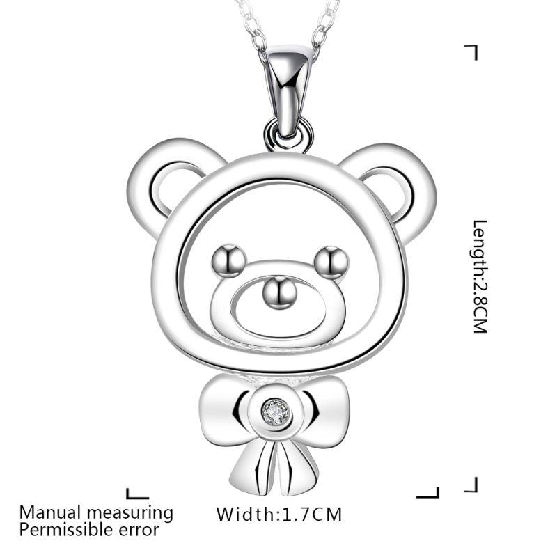 Fashion Design Silver Little Bear Shape Pendant Necklace Zircon Sterling Silver Jewelry
