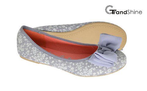 Women's Printed Canvas with Bow Flat Casual Ballet Shoes
