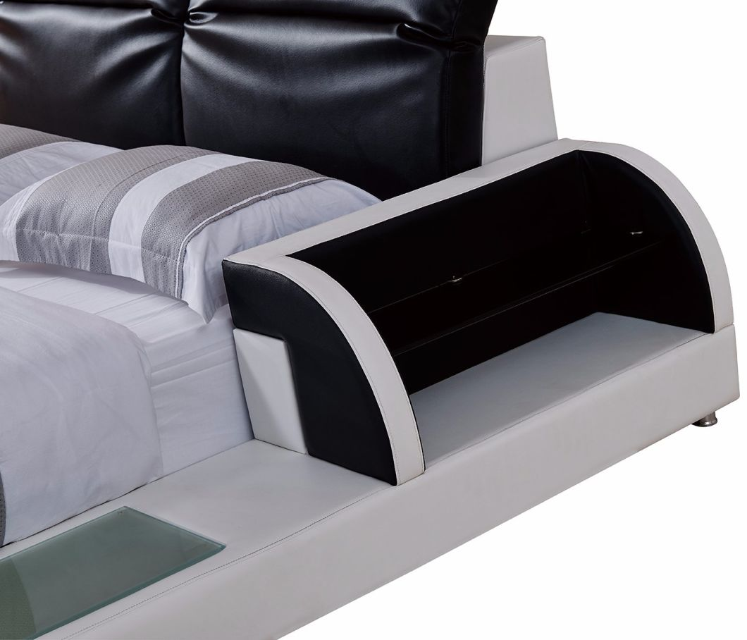 Queen Size Bedding Contemporary Leather Bed with LED Light