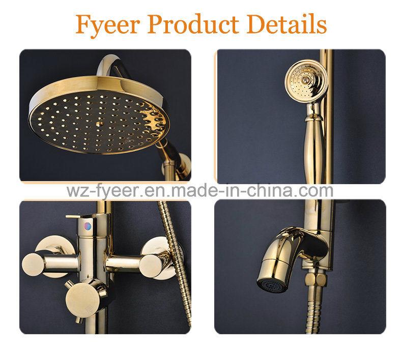 Fyeer Luxury Solid Brass Bathroom Rainfall Golden Shower Set
