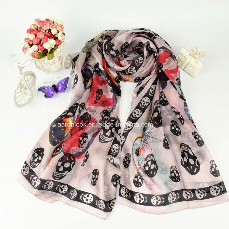 Women's Wholesale High Quality Skeleton Head Printed Silk Scarf