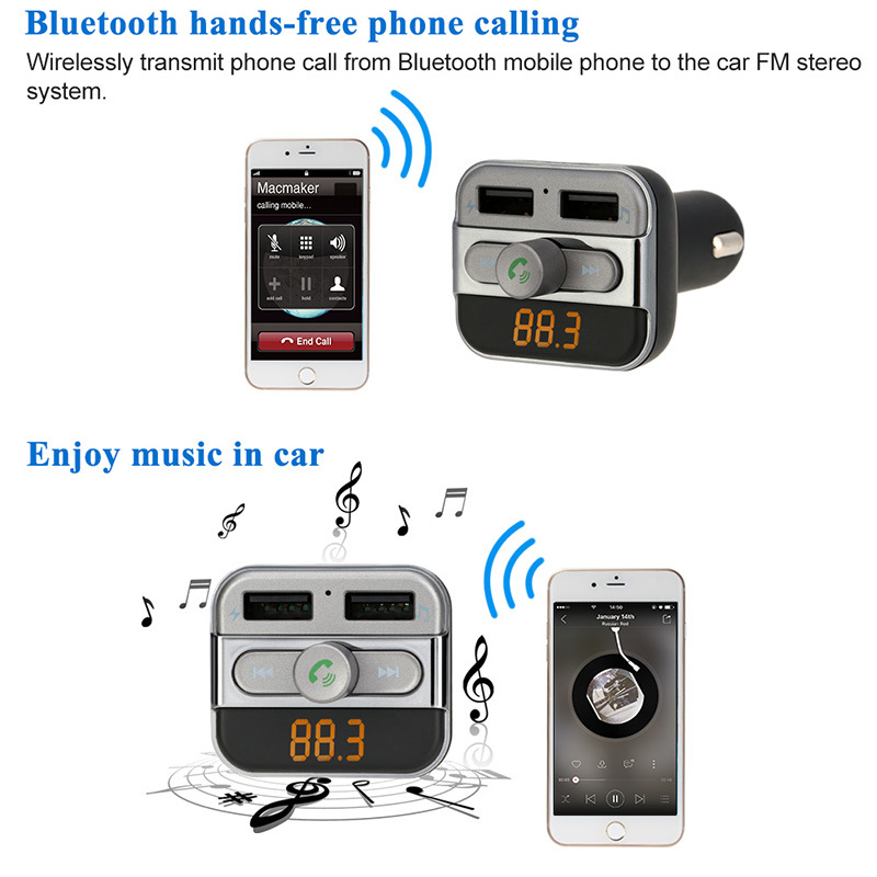 LED Hands-Free Call Wireless FM Transmitter Bluetooth Car Kit/SD Card MP3 Player Music USB Charge
