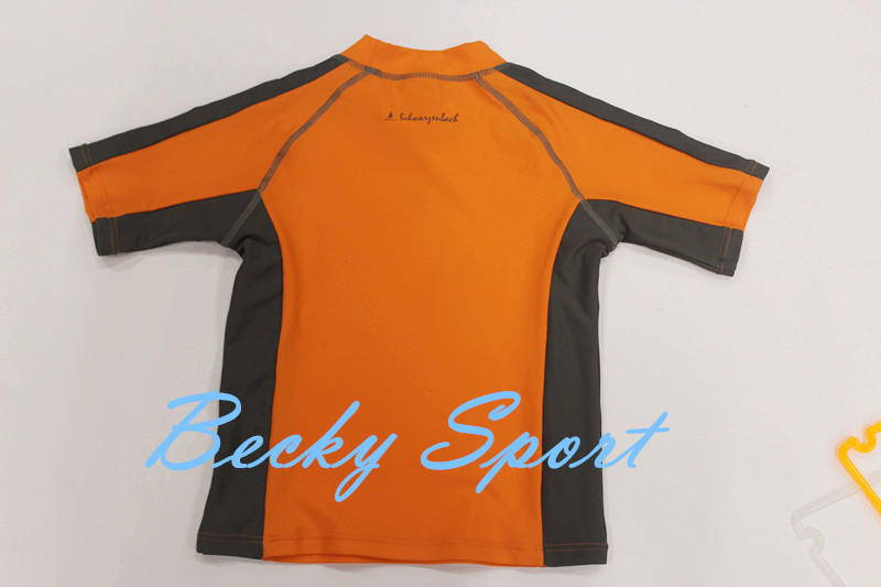 Children's Rash Guard Rashguard Sportwear Surfing Wear with Contrast Color and Flatlock Stitching