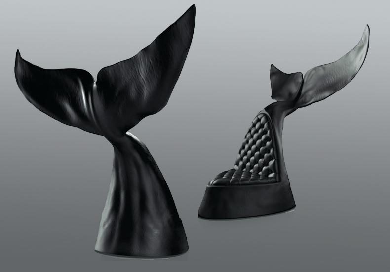 Maximo Riera Fishtail Design Genuine Leather Chairs