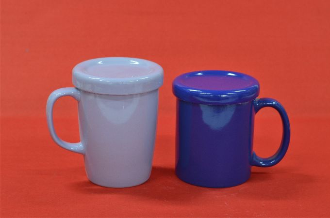 Grey Blue Cup with Lid