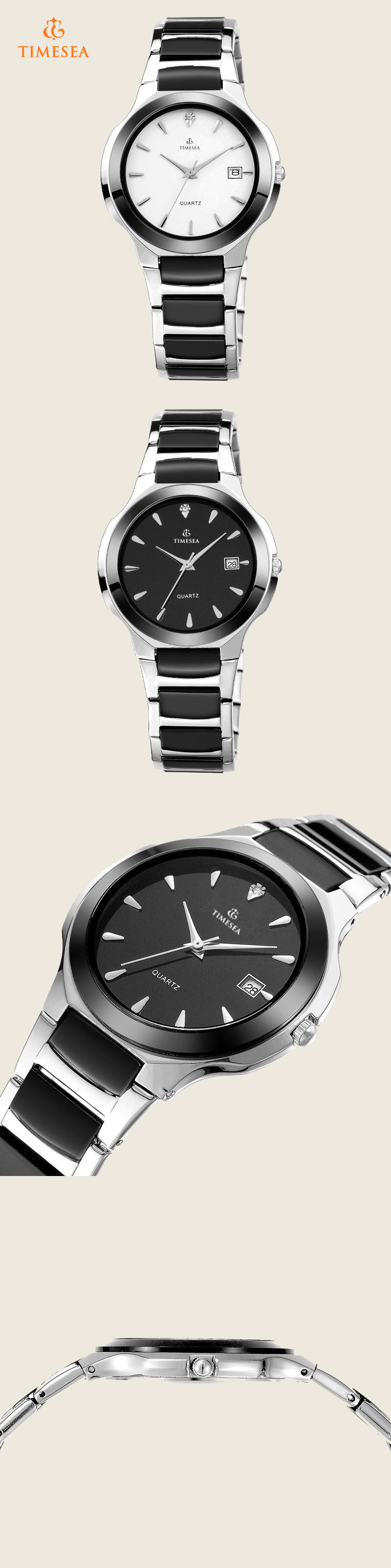 Stainless Steel Chain Black Color Wrist Watches for Men 72330