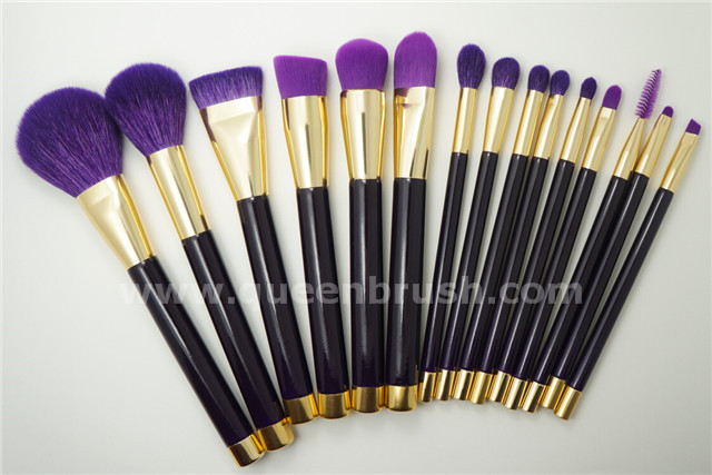 Private Label Makeup Brushes 15 Pieces Purple Cosmetic Brush Set