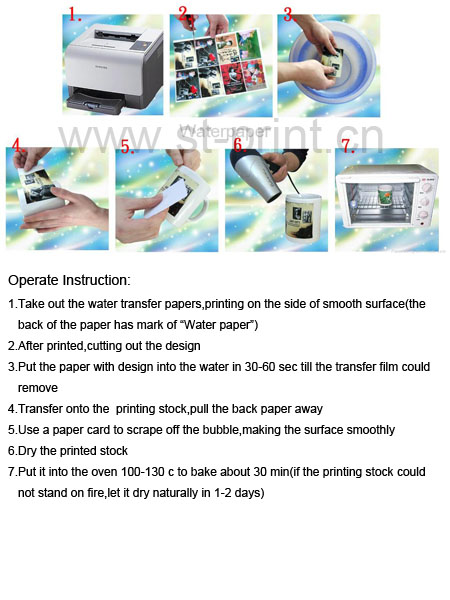 White Laser Papel Transfer Paper Sheets Water Slide Decal Paper Camisetas Water Transfer Papier Transfert Ceramic Decals