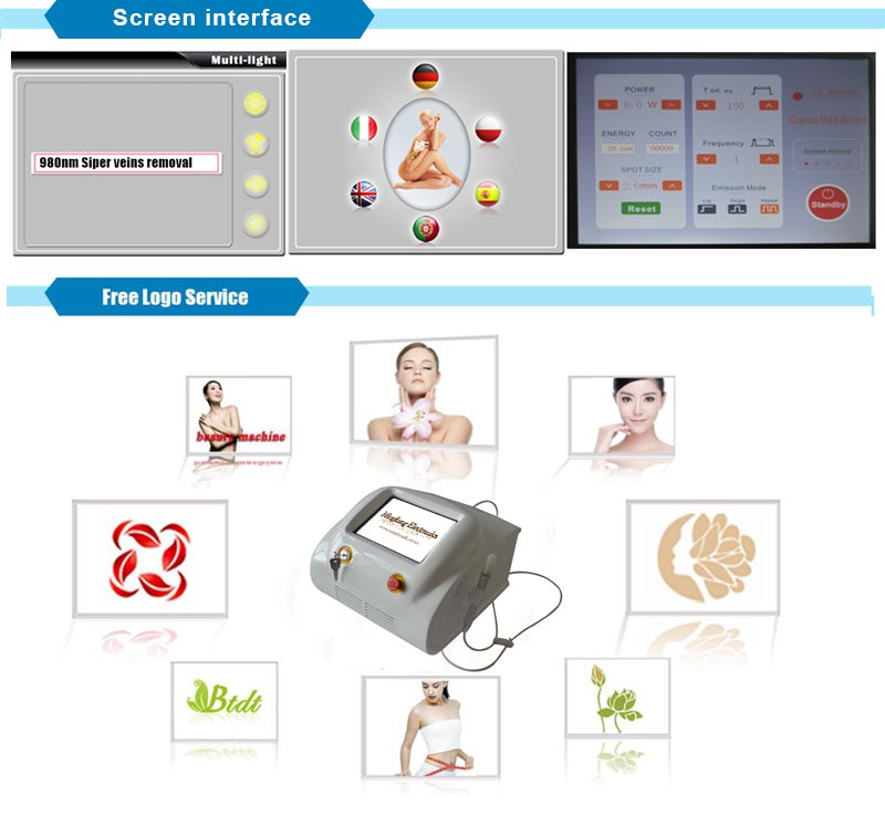 Effective Diode Laser 980 Nm Treatment Machine and Red Blood Vessels Removal Vascular