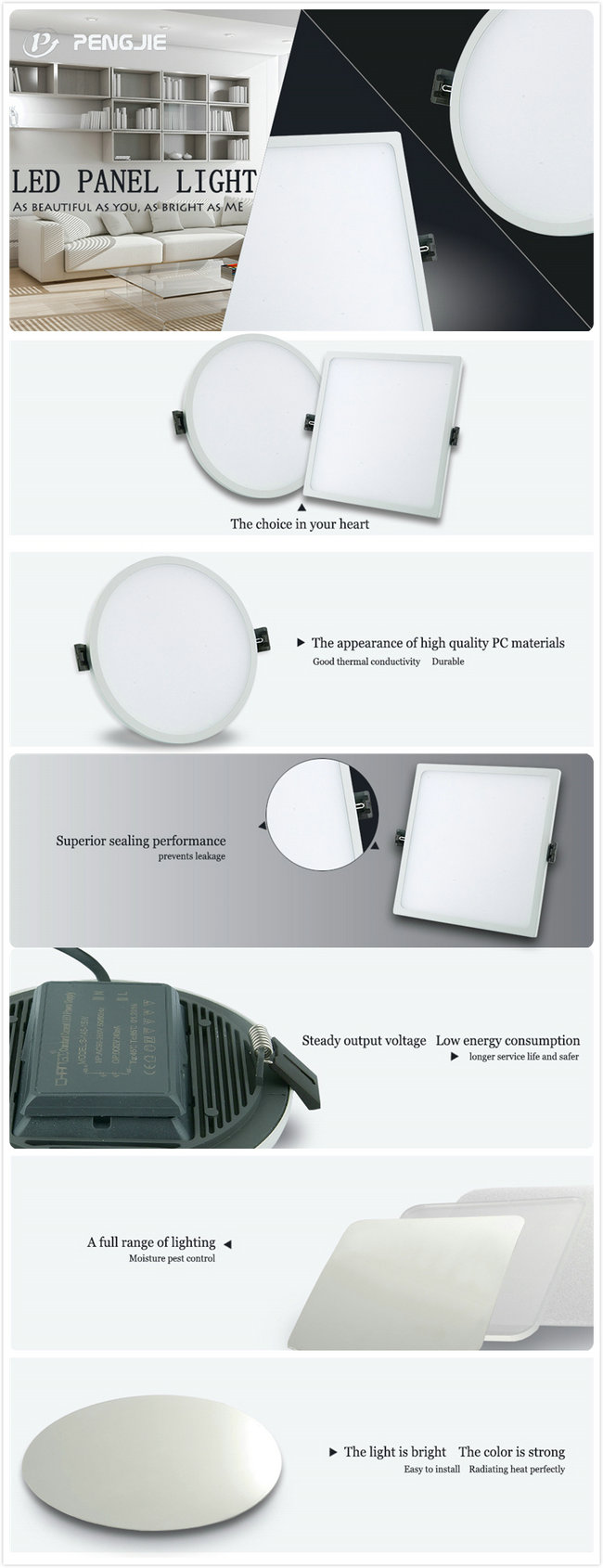 2017 New Design 8W Narrow Edge LED Panel Light