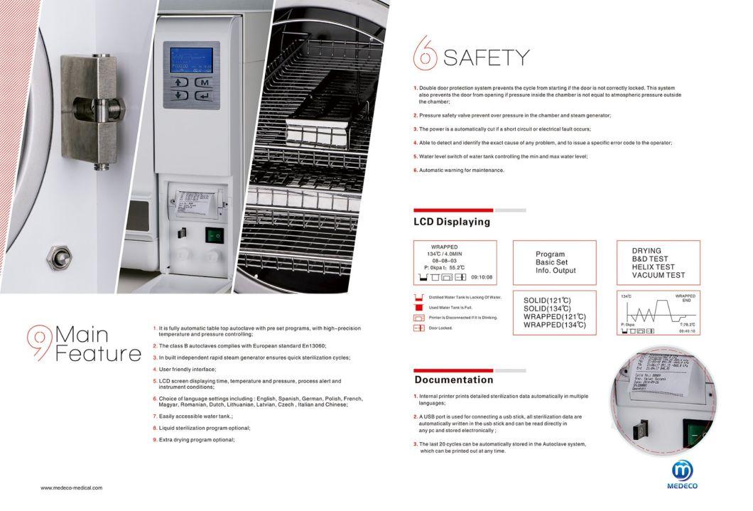 18L Tabletop Dental Sterilizer (Class B Medical Autoclave Sterilizers) Ste-18-D