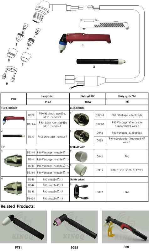 Kingq P80 Air Cooled Plasma Cutting Torch for Arc Welder