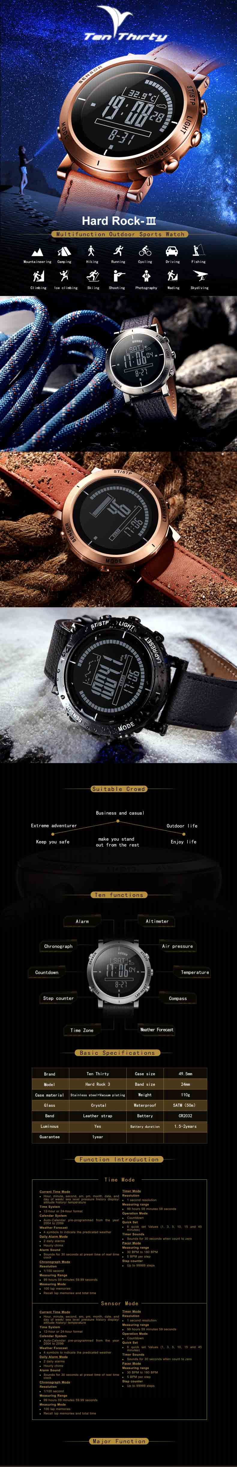 Multifunction Smart Outdoor Sport Men's Wrist Watch