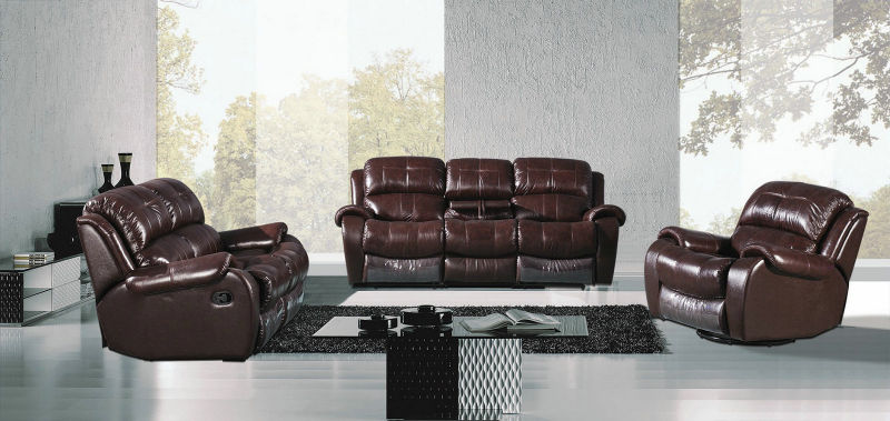 Red Wine Color Recliner Sofa, Living Room Genuine Leather Sofa (Y995)