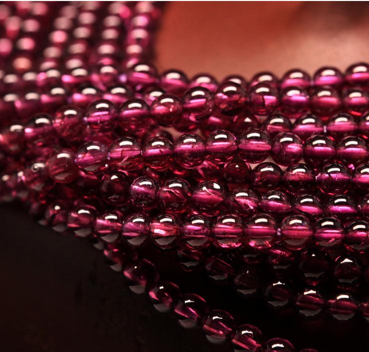 Factory Direct Sale Gemstone Loose Strand 4mm Brazil Natural Garnet Gemstone