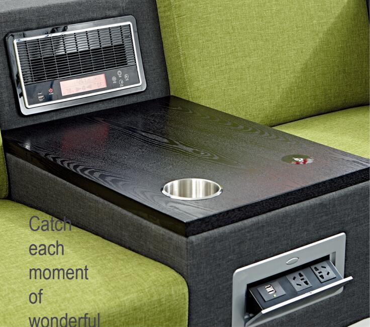 Modern Furniture Linen Fabric Office Function Sofa with Oak Veneer Tea Table