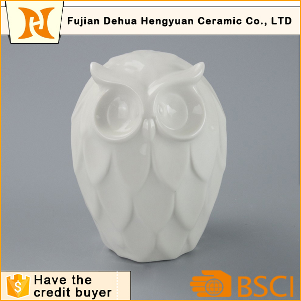 High Quality White Ceramic Owl Figurine for Home Decoration