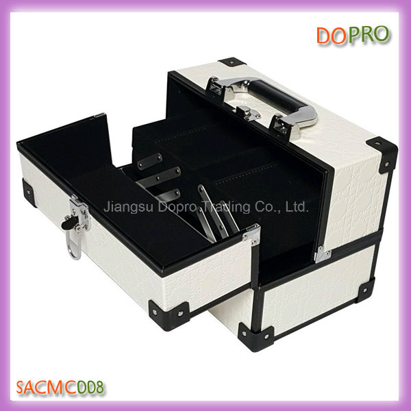 Vanity White PU Leather Makeup Kit Box with Good Price (SACMC008)
