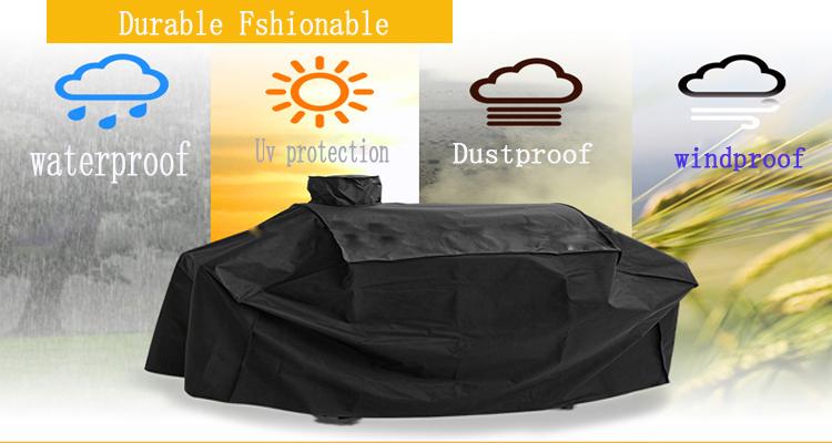 178*61*122cm Durable Black Waterproof BBQ Cover