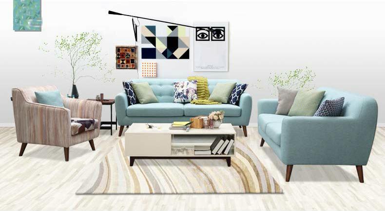 Blue Color Modern Fabric Sofa, Simple Design Home Furniture (M617)