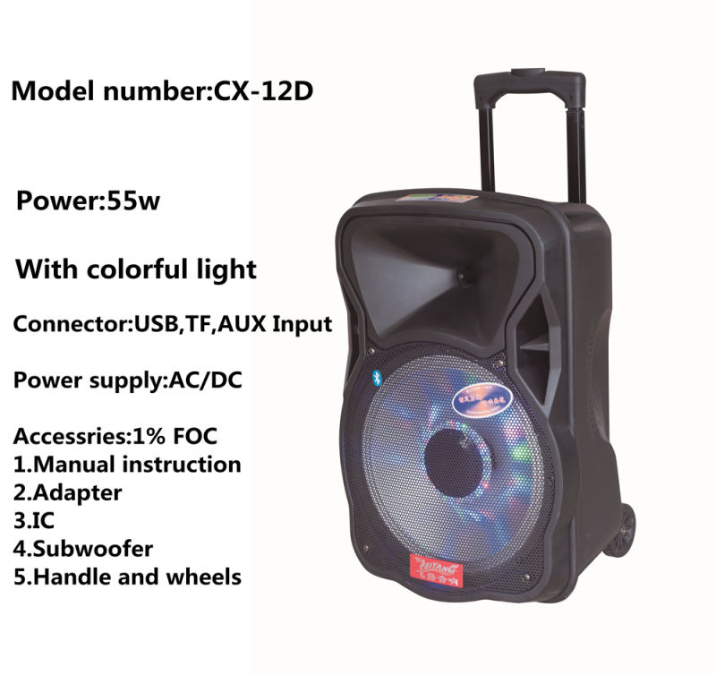 2016 New Arrival Colorful 12inch Speaker with LED NFC Bluetooth 200W Cx-12D