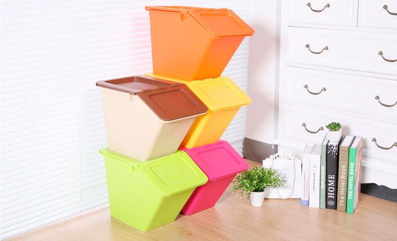Small Size Stackable Plastic Storage Box with Swing Lid