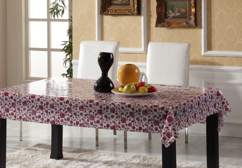 PVC Printed Pattern Vinyl Tablecloth Plastic Transparent
