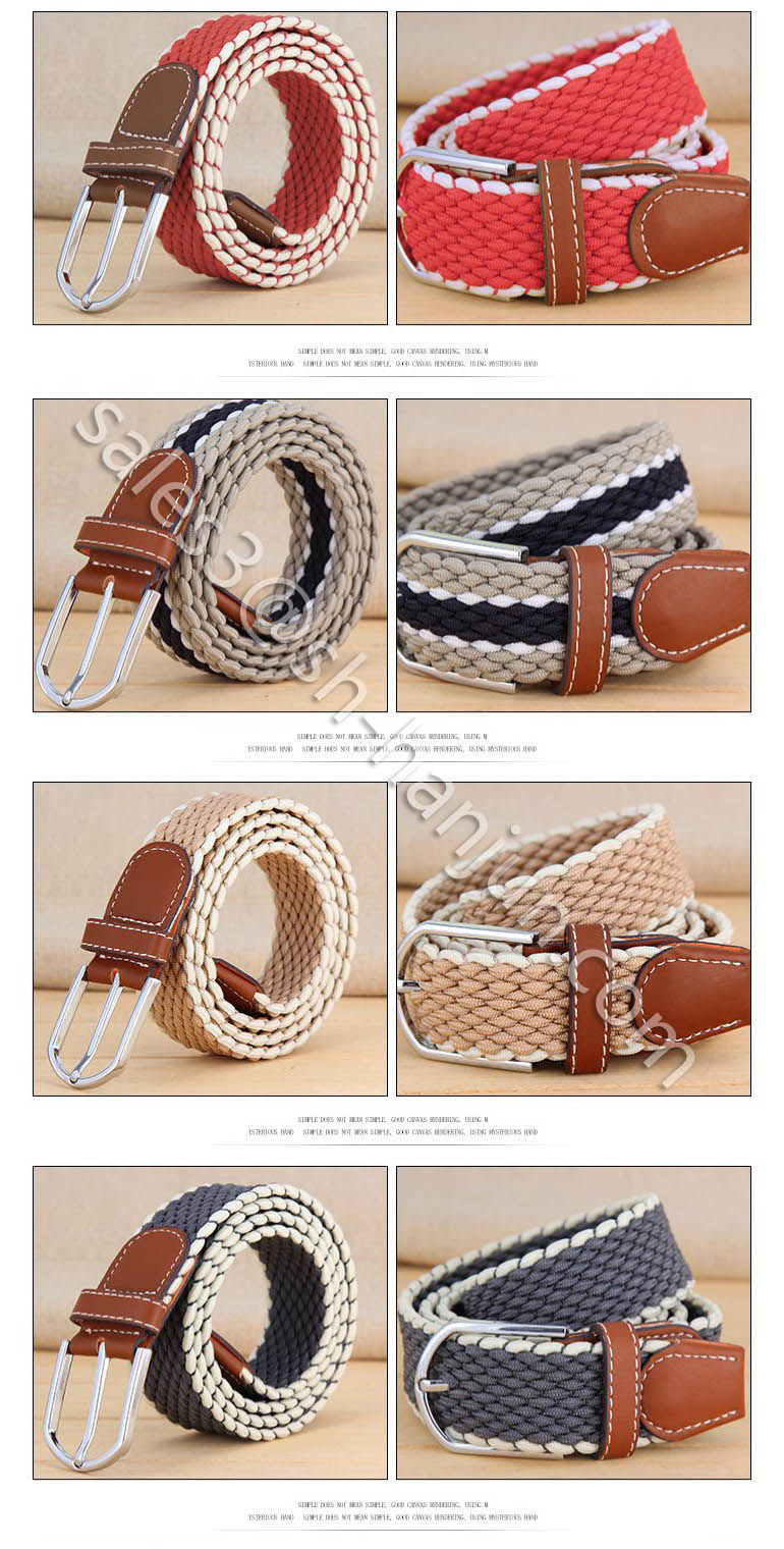 Men's Waist Braided Belt Elastic Braided Belts for Jeans