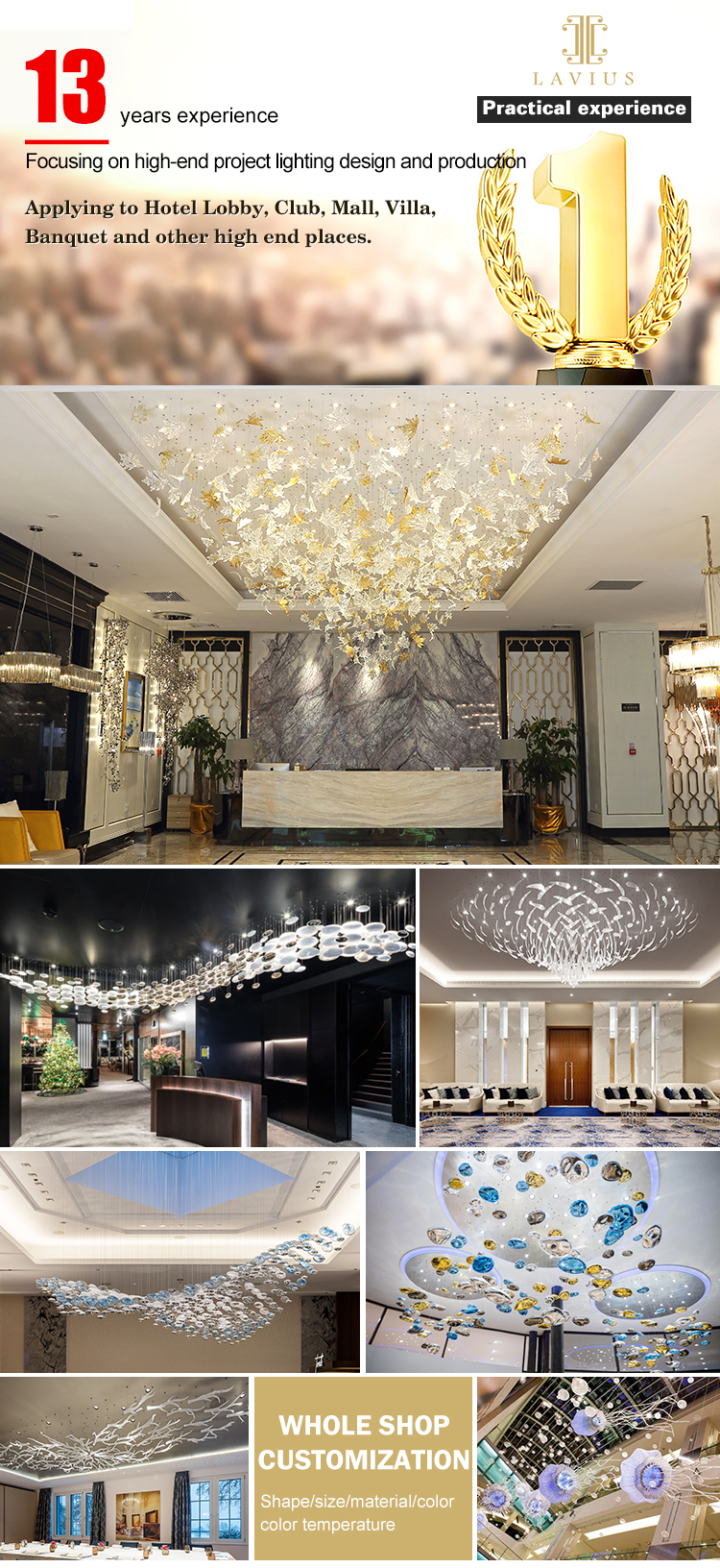 High quality art luxurious for living room home decoration clear glass led chandelier