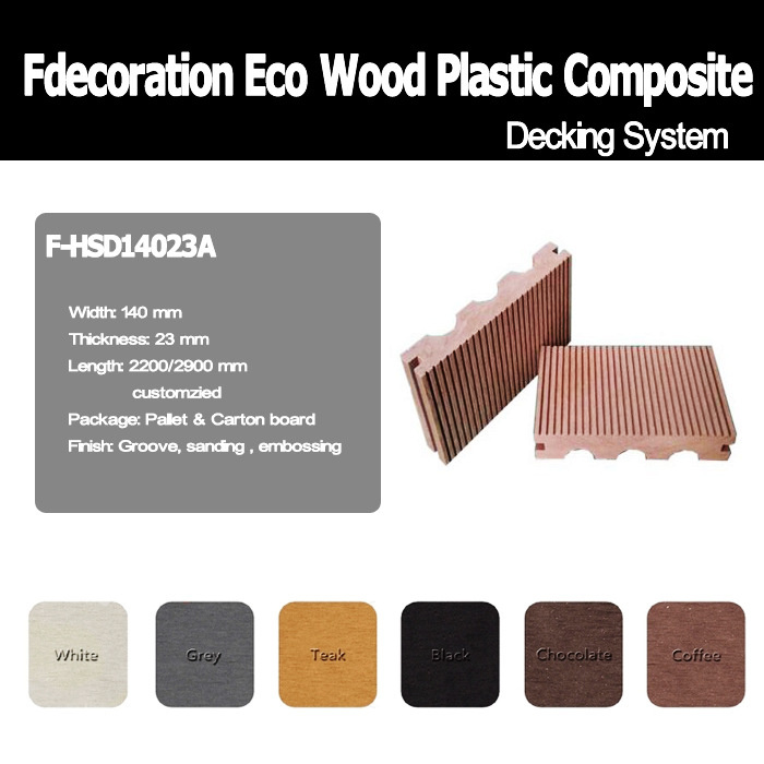 100% Recycle Green Material Garden Use WPC Decking Floor
