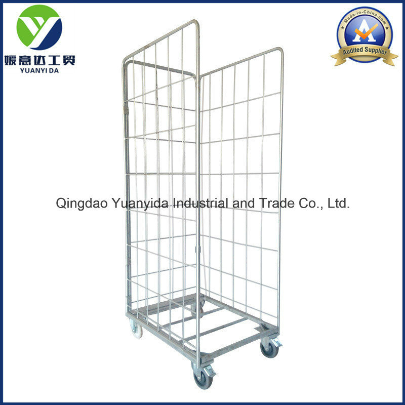 Dipped Galvanized Supermarket and Warehouse Roll Containers Hand Trolley Cart