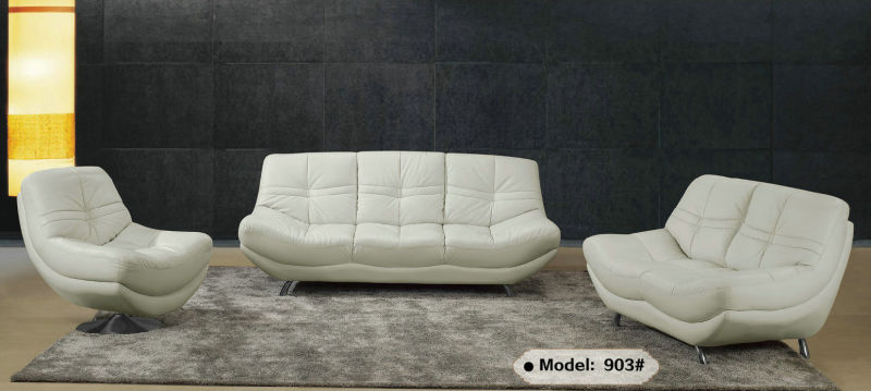 White Modern Design Genuine Leather Sofa (903)