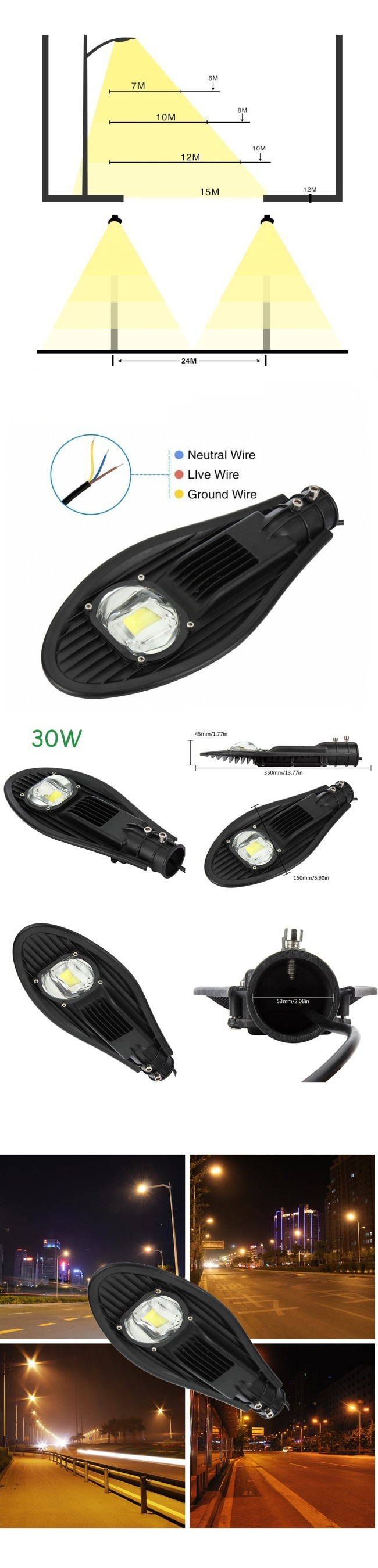 Highway 30W LED Street Lamp COB LED 5-Year Warranty IP65 White Black Housing