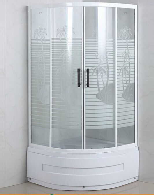 Palm Tree Glass High Base Shower Cabin (ADL-8035C)