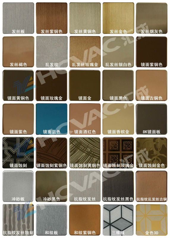 Stainless Steel Sheet Gold/Black/Blue/Rose Gold Color PVD Coating Machine