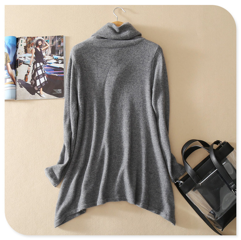 New Design Knitwear Turtleneck Long Sleeves Pullover Pure Cashmere Sweater with Irregular Hem for Spring