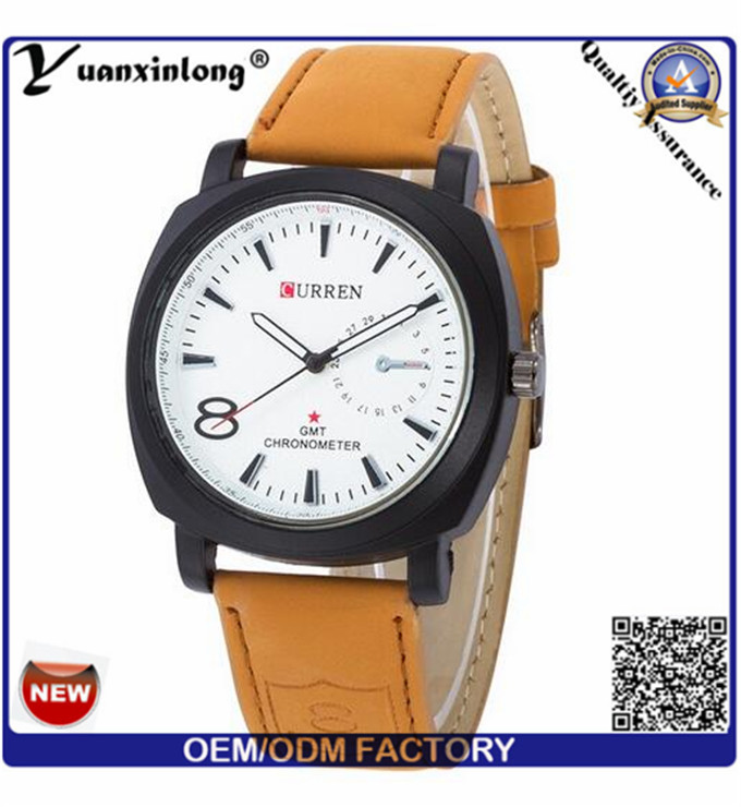 Yxl-376 Curren Watches Men Vogue Watch for Mens Genuine Leather Calendar Big Dial Military Watches