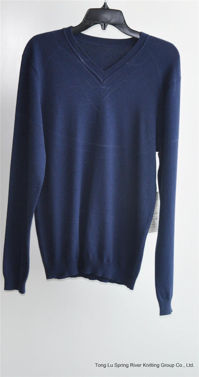 Winter Men Long Sleeve V-Neck Knit Pullover Sweater