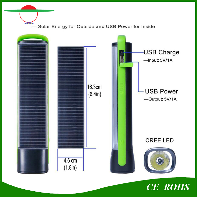 Hot Sale 1W High Power Solar Power Bank Torch Light Emergency Solar Flashlight for Mobile Charging