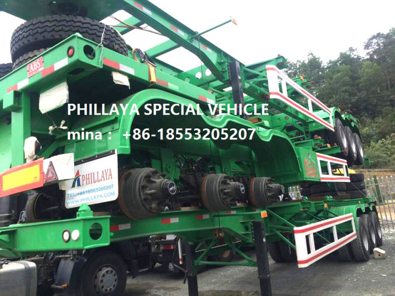 Double Axles 20-50FT Terminal Container Carrier Skeleton Semi Trailer