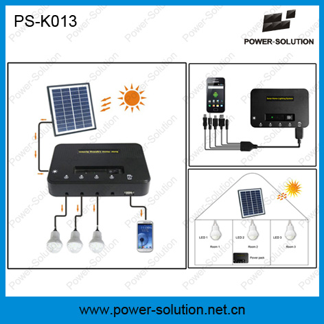 4W Solar Panel 3PCS 1W SMD LED Bulbs Solar Kit with Phone Charger Function (PS-K013)