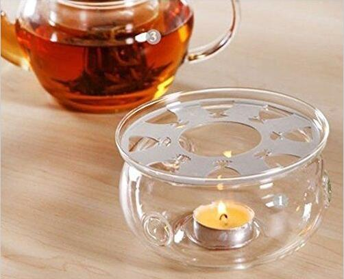 Clear Glass Round Shape Warmer Base for Tea Coffee Pot Flower Teapot