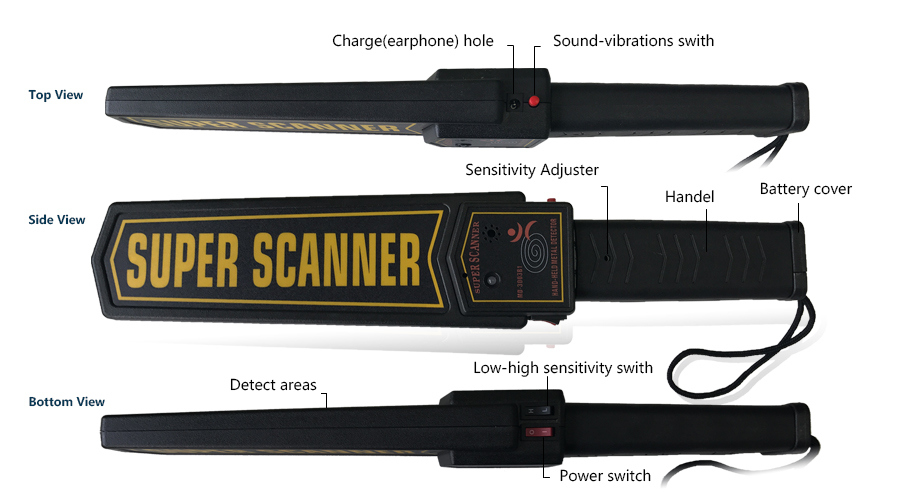 High Quality Cheap Price Material Adjusted Waterproof Hand Held Gold Metal Detector