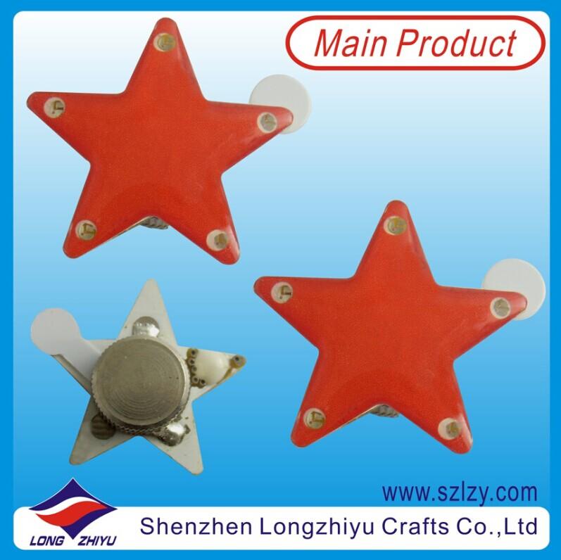 Promotional Cheap Printing LED Badge Flashing Blinking Pins