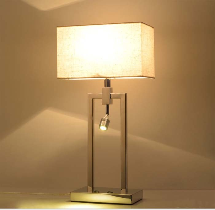 Very Fashion & Modern Metal LED Desk Table Lamp Light with Fabric Shade for Bedroom, Finished in Chrome