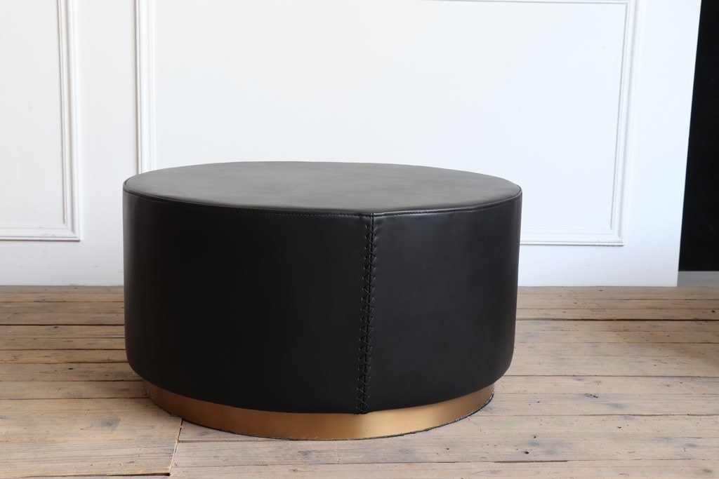 Vintage Black Leather Top and Plating Gold Color Brushed Round Bottom Coffee Table Side Table