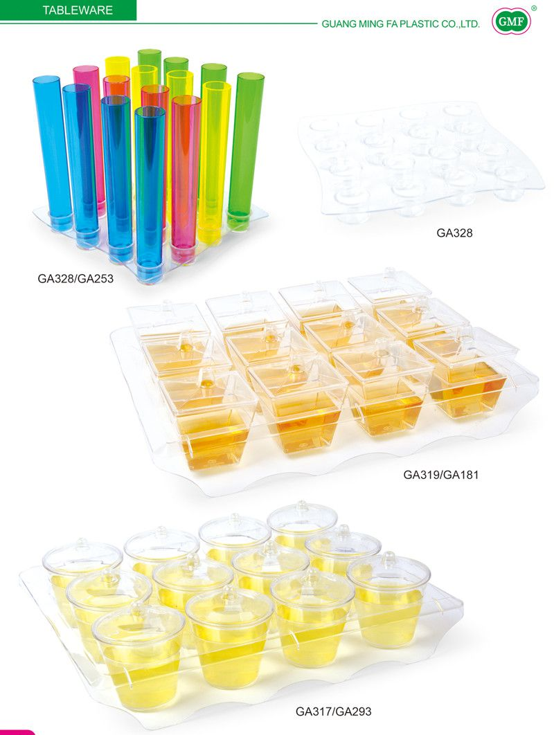 PP/PS Plastic Cup Oval Cup with Spoon in The Square Box