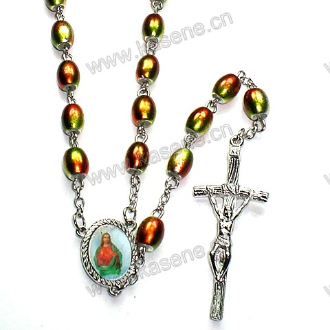 High Quality Colourful Oval Bead Rosary Necklace with Cross, Glass Rosary